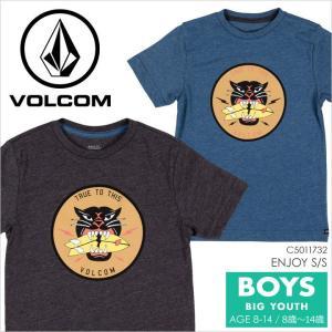 Tシャツ キッズ VOLCOM ENJOY S/S BIG YOUTH - C5011732 ボルコム ジュニア ボーイズ サーフ スケート プリント イラスト キャラクター ロゴ 男の子 半袖 S/S 14|3direct