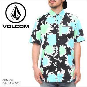 シャツ 半袖 メンズ VOLCOM BALLAST S/S - A0421700 ボルコム 半袖シャツ 柄シャツ アロハ ボタニカル 総柄 ロゴ イラスト サーフ スケート ストリート ブラック|3direct