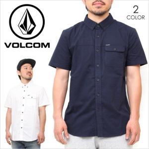 シャツ 半袖 メンズ VOLCOM BRIGHTON S/S - A0421705 ボルコム 半袖シャツ ボタンダウン ポケット シンプル ロゴ ホワイト ネイビー サーフ スケート ストリート|3direct