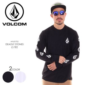 VOLCOM ボルコム Tシャツ ロンT メンズ DEADLY STONES L/S TEE AF631702 2018秋冬 ブラック/ホワイト S/M/L/XL|3direct