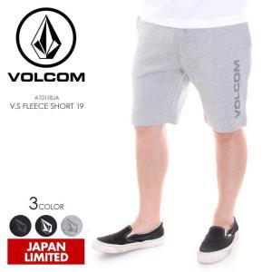 VOLCOM ハーフパンツ メンズ V.S FLEECE SHORT 19 A10118JA 2018春夏 ブラック/グレー M/L/XL|3direct