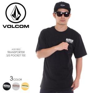 VOLCOM Tシャツ メンズ TRANSPORTER S/S POCKET TEE A3511802 2018春夏 ブラック/ヘザーグレー/イエロー S/M/L|3direct