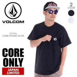 VOLCOM Tシャツ メンズ CORE POCKET S/S TEE A35118JA 2018春夏 ブラック/ホワイト S/M/L|3direct