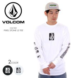 VOLCOM Tシャツ ロンT メンズ PIXEL STONE L/S TEE A3611801 2018春 ブラック/ホワイト S/M/L|3direct