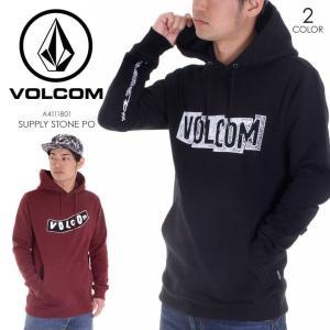 VOLCOM パーカー メンズ SUPPLY STONE P/O 2018春 A4111801 ブラック/バーガンディー S/M/L|3direct