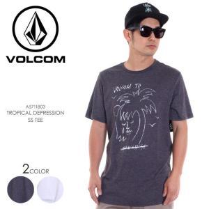 VOLCOM Tシャツ メンズ TROPICAL DEPRESSION S/S TEE A5711803 2018春夏 ヘザーブラック/ホワイト S/M/L|3direct