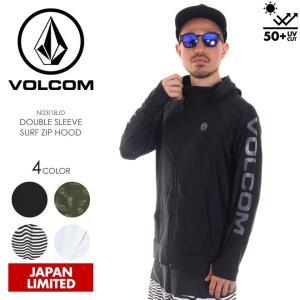 VOLCOM ラッシュガード メンズ DOUBLE SLEEVE SURF ZIP HOOD N03118JD 2018春夏 ブラック/グリーン/ホワイト S/M/L/XL|3direct