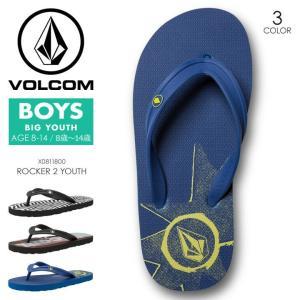 VOLCOM ビーチサンダル キッズ ROCKER 2 YOUTH X0811800 2018春夏 ブラック/ホワイト/ブルー 19cm/20cm/21cm/22cm/23cm|3direct