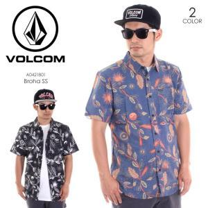 VOLCOM シャツ メンズ BROHA S/S A0421801 2018春夏 ブラック/ブルー S/M/L|3direct