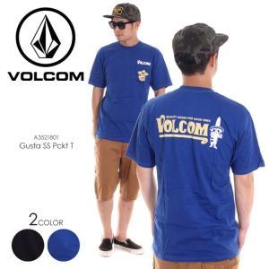 VOLCOM Tシャツ メンズ MI GUSTA S/S PCKT TEE A3521801 2018春夏 ブラック/ブルー S/M/L|3direct