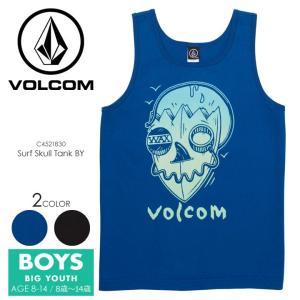 VOLCOM タンクトップ キッズ SURF SKULL TANK BIG YOUTH C4521830 2018春夏 ブラック/ブルー 140cm/150cm/160cm|3direct