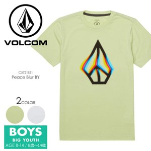 VOLCOM Tシャツ キッズ PEACE BLUR S/S TEE BIG YOUTH C5721831 2018春夏 グリーン/ホワイト 140cm/150cm/160cm|3direct
