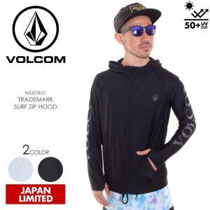 VOLCOM ラッシュパーカー メンズ TRADEMARK SURF ZIP HOOD N03218JC 2018春夏 ブラック/ホワイト S/M/L/XL|3direct