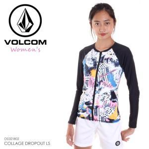 VOLCOM ラッシュガード レディース COLLAGE DROPOUT LS O0321802 2018春夏 ブラック S/M 3direct
