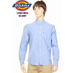 Dickies ディッキーズ 123M31WD05 BD SHIRTS オックスフォード ボタンダウンシャツ ロング オシャレ 長袖 シャツ ワークウェア アメカジ BLUE ブルー 青|3love