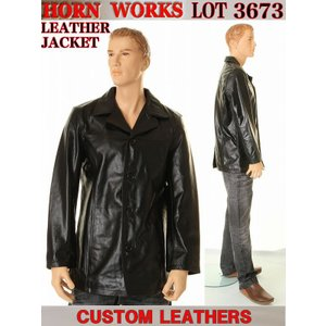 HORN WORKS 革ジャン ホーンワークス 高品質天然本牛革(BUFFALO)4ボタン カバーオール ジャケット HORN WORKS LOT 3673 レザージャケット(ブラック)|3love