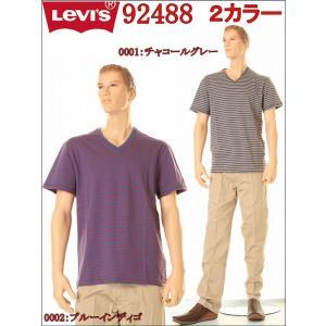 Levi'sVネックティーナローボーダー LOT 92488-0001 92488-0002(2カラー)|3love