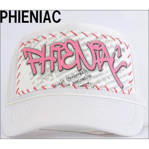 PHIENIACPHIENIAC CAP フェニアック メッシュ キャップ(ホワイト×レッドマーク)|3love