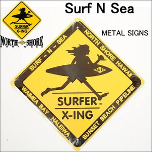 HAWAII HALEIWA Surf N Sea サーフ アンド シー SURFER X-ing メタルサイン 大 サーフショップ メタルプレート 雑貨|3love