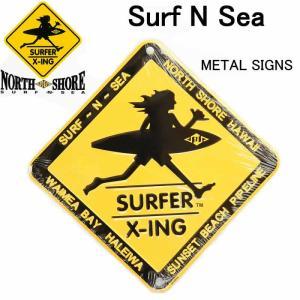 HAWAII HALEIWA Surf N Sea サーフ アンド シー SURFER X-ing メタルサイン 小 サーフショップ メタルプレート 雑貨|3love