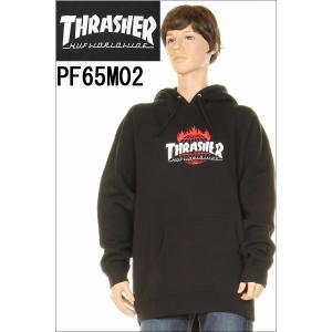 THRASHER スラッシャー × HUF ハフ PF65M02 プルオーバーパーカー ブラック スラッシャー パーカー プルオーバー フーディー BLK|3love