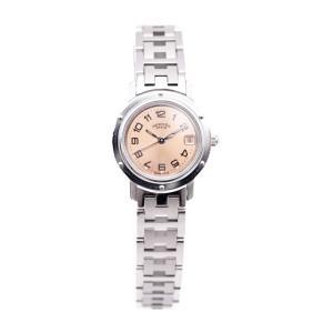 HERMES エルメス クリッパー 腕時計 CL4.210 レディース SS シルバー ピンク文字盤 クオーツ【本物保証】 3rboutipue