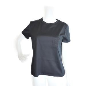 新品未使用展示品 HERMES エルメス トップス Tシャツ コットン100% ネイビー 胸ポケット 刺? サイズ40【本物保証】 3rboutipue