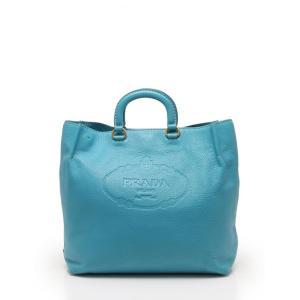 美品 PRADA プラダ トートバッグ ハンドバッグ レザー 水色 2WAY ショルダーストラップ付き レディース【本物保証】|3rboutipue