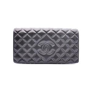 美品 CHANEL シャネル マトラッセ 二つ折り長財布 ブラック ラムスキン A80108【本物保証】|3rboutipue