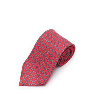 新品未使用展示品 HERMES エルメス ネクタイ シルク100% 赤 水色 レッド ブルー メンズ 小物 【本物保証】|3rboutipue
