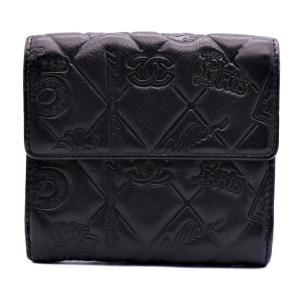 美品 CHANEL シャネル Wホック 二つ折り 財布 A48053 アイコン レザー ブラック【本物保証】|3rboutipue