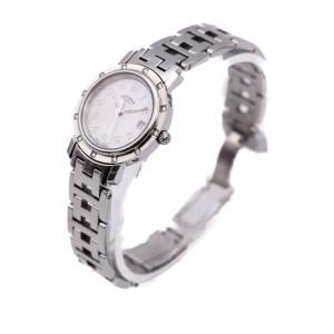 HERMES エルメス クリッパー ナクレ ピンクシェル文字盤 CL4.230 12Pダイヤ クオーツ レディース 腕時計【本物保証】 3rboutipue