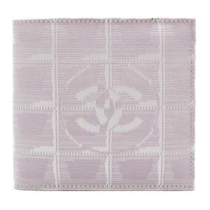 美品 CHANEL シャネル ニュートラベルライン 二つ折り 財布 A14342 キャンバス パープル系【本物保証】|3rboutipue