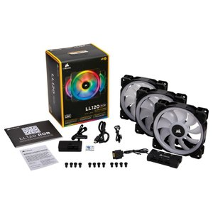 CORSAIR CO-9050072-WW LL120 RGB 3 Fan Pack with Lighting Node PRO ファン3個とLighting Node PROをセットにした標準モデル【在庫有り】|3top
