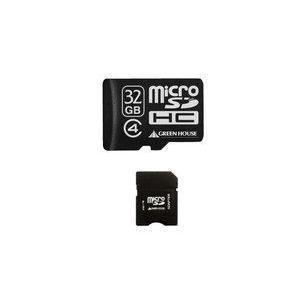 グリーンハウス GH-SDMRHC32G4 SDカード変換アダプタ付属のClass4 microSDHCカード(32GB)【少量在庫有り即納!!】|3top