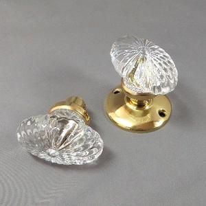 ガラス製ドアノブ ヴィクトリアン パンプキン 空錠タイプ