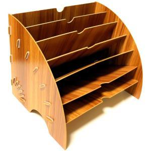 木製 A4 ファイルボックス 6段 多機能 書類 文房具 新聞 卓上 おしゃれ 収納