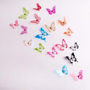 ウォールステッカー 3D胡蝶 カラフル 多彩 昆虫 立体感 デコレーションシール 両面テープ付き 36匹 41wallsticker