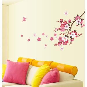 ウォールステッカー 桃の花と蝶々 和風 ピンク 剥がせる ウォールペーパー シール 春 令和 小サイズ 41wallsticker