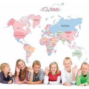 ウォールステッカー 世界地図 英語の国名 壁紙シール 旅行 ワールドマップ 子供部屋 学校 教室|41wallsticker