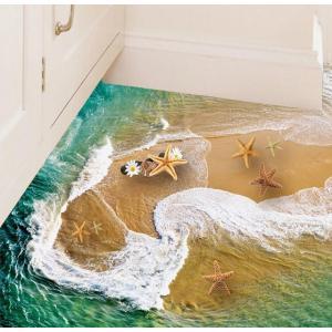 ウォールステッカー 押し寄せる波の砂浜 ヒトデ 3D 床シール 青緑の海 ヤドカリ 貝殻 マーガレットの花|41wallsticker