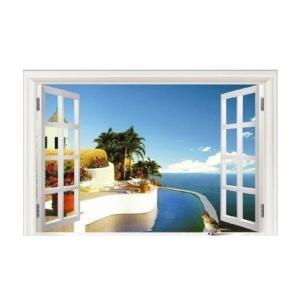 ウォールステッカー 窓 地中海の海辺 壁用 デコシール 欧風...
