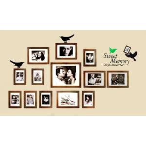ウォールステッカー モノクロ ムービースター 壁シール フォトフレーム 茶色の写真枠 はり直せる 小鳥|41wallsticker