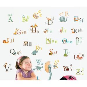 ウォールステッカー 動物とアルファベット 壁シール かわいい ABC 英語 子供部屋 英会話教室に|41wallsticker