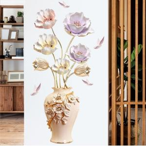 ウォールステッカー 3D 立体 チューリップ 豪華 花瓶 インテリアシール はがせる 造花 棚 寝室|41wallsticker