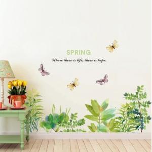 ウォールステッカー スプリング 水彩のリーフと蝶 壁に貼る シール 春の訪れ 草葉 英字 雑貨 41wallsticker