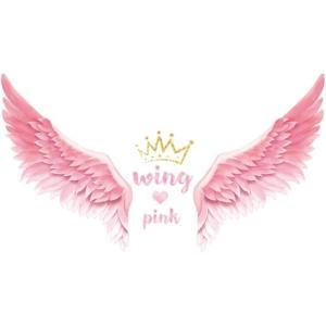 ウォールステッカー ピンクの羽 王冠 映える 壁飾り シール ハート 天使の翼 女の子 ベッド ソファー 41wallsticker