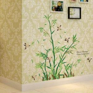 ウォールステッカー 竹と鳥 日本風 壁に貼る シール 筍 笹の葉 風流 山奥 燕 トイレ 和室 書斎 七夕|41wallsticker
