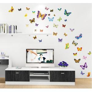 ウォールステッカー 色とりどりの蝶々 バタフライ シール 綺麗な ちょう 壁面 小物 iphone PCにも 41wallsticker