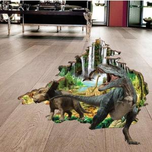 ウォールステッカー 恐竜時代 トリックアート 3Dシール 壁穴から トリケラトプス 鳥 森林 滝|41wallsticker